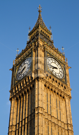 Big Ben stock photo, Big Ben in the evening, London, England by Juergen Schonnop