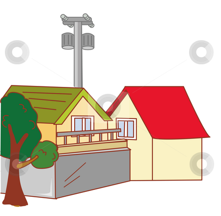 House stock photo, Two nice houses with a tree and a pole by Su Li