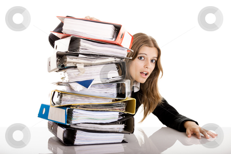 Business Woman Over-Worked stock photo, Business Woman in the office over-worked isolated on white by ikostudio