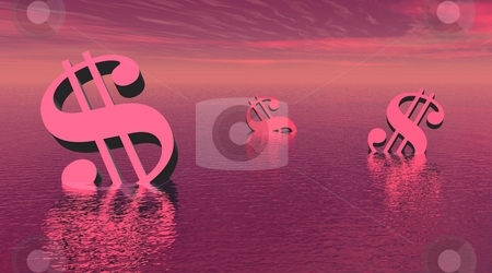 Three drowning dollars stock photo, Three dollars drowning in the sea by violet day light by Elenaphotos21