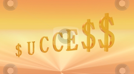 Key to Success stock photo, Success word written with dollar symbol instead of s letter in lighy yellow and orange background by Elenaphotos21