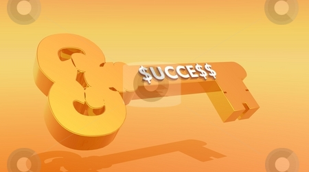 Key to Success stock photo, Gold key with success word written inside and with dollar symbol instead of s letters by Elenaphotos21
