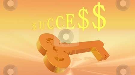 Key to Success stock photo, Gold color key under success word written with dollars instead of s letter and orange and yellow background by Elenaphotos21