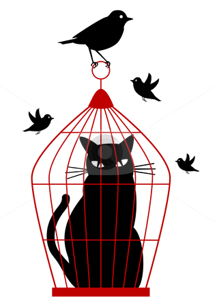 Cat in birdcage, vector stock vector clipart, Cat caged in birdcage by birds, vector background by Beata Kraus