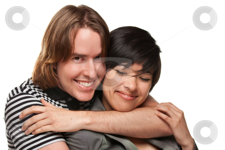 Diverse Caucasian Male and Multiethnic Female Portrait stock photo, Diverse Caucasian Male and Multiethnic Female Portrait Isolated on a White Background. by Andy Dean