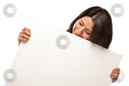 Attractive Multiethnic Woman Holding Blank White Sign stock photo, Attractive Multiethnic Woman Holding Blank White Sign Isolated on a White Background. by Andy Dean