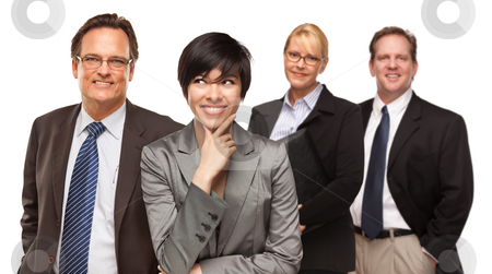 Businessmen and Businesswomen on White stock photo, Smiling Businessmen and Businesswomen Isolated on a White Background. by Andy Dean