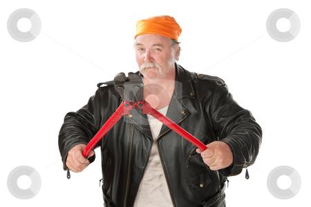 Man with bolt cutter stock photo, Fat hoodlum holding open large bolt cutters by Scott Griessel