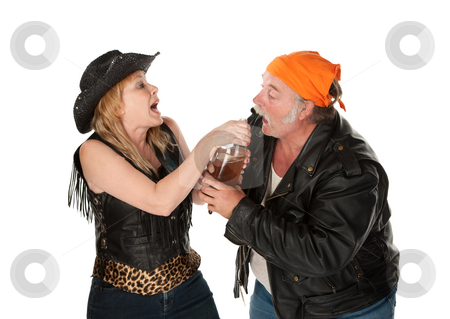 Beer brawl stock photo, Gang member couple wrestling over a beer bottle by Scott Griessel