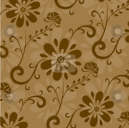 Flower background stock photo, A beautiful drawing of flower pattern on a brown background by Su Li