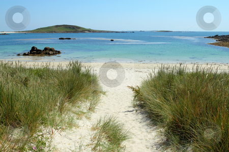 Path to Rushy Bay beach in Bryher, Isles of Scilly Cornwall UK. stock photo, Path to Rushy Bay beach in Bryher, Isles of Scilly Cornwall UK. by Stephen Rees