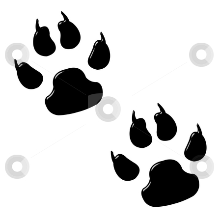 3D Dog Foot Prints stock photo, 3d dog foot prints isolated in white by Georgios Kollidas
