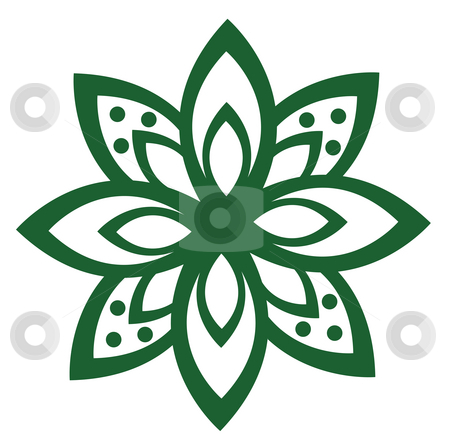 A flower pattern stock photo, Illustration drawing of a beautiful green flower pattern by Su Li