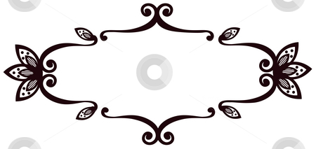Flower pattern stock photo, Illustration drawing of beautiful black flower pattern in white background by Su Li
