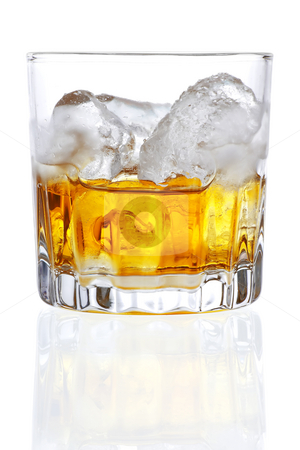 Whiskey stock photo, Stock image of Whiskey on the rocks over white background. Find more cocktail and drinks images on my portfolio. by iodrakon