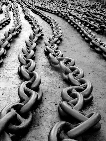 Anchor chain stock photo, Marine anchor chain on the floor after painting... by Sinisa Botas