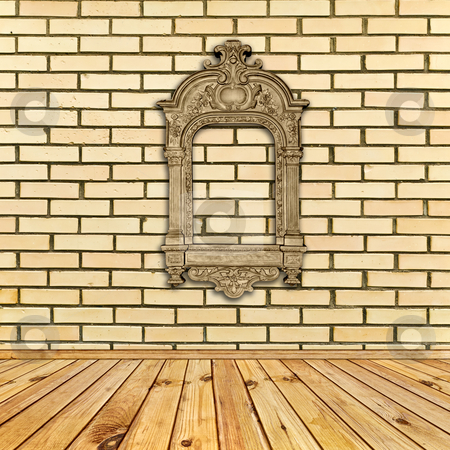 Interior with frame stock photo, Antique decorated frame at beige brick wall under wooden floor by Sergej Razvodovskij