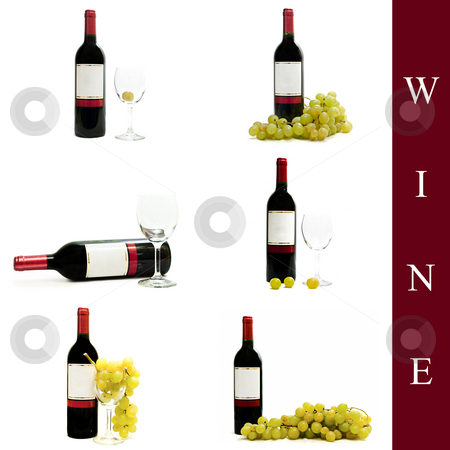 Wine set stock photo, Set of different wine images over white background by Sergej Razvodovskij