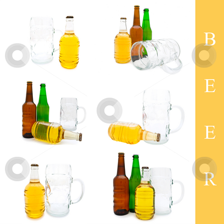 Beer bottle set stock photo, Set of bottles with beer over white background by Sergej Razvodovskij