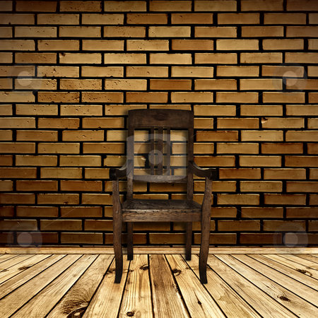 Interior with chair stock photo, Single chair at wooden floor against beige brick wall by Sergej Razvodovskij