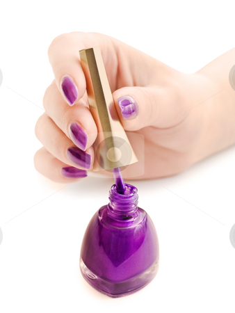 Manicure stock photo, Manicure: nail polish and woman hand over white background by Sergej Razvodovskij