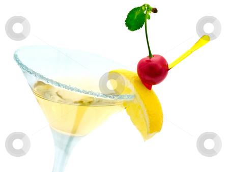 Cocktail stock photo, Cocktail with lemon and cherry over white by Sergej Razvodovskij