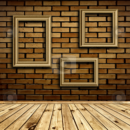 Interior with frames stock photo, Three frames at beige brick wall under wooden floor by Sergej Razvodovskij