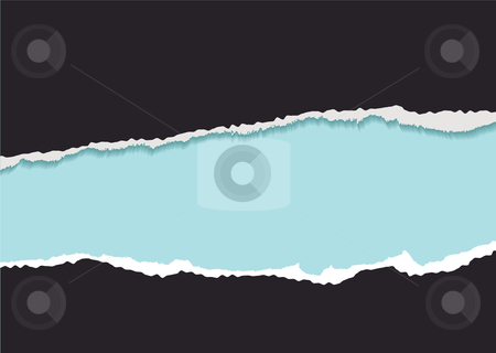 Blue torn strip background stock vector clipart, Black background with blue copyspace and torn paper edge by Michael Travers