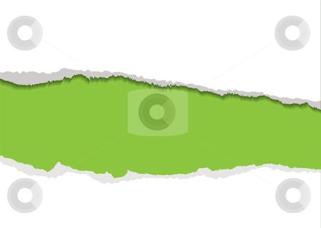 Green torn strip background stock vector clipart, Green background with white torn paper edge and shadow by Michael Travers