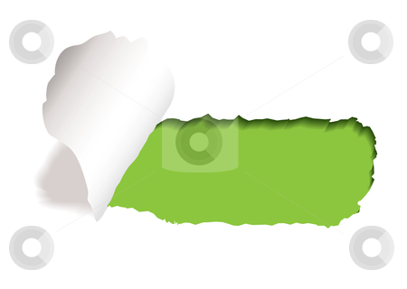 Green paper slot tear stock vector clipart, Green background with paper tear and curl of torn edge by Michael Travers