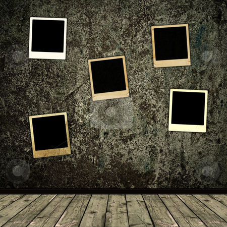 Old photo frames stock photo, Old photo frames over the grunge wall background by Sergej Razvodovskij