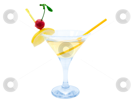 Cocktail stock photo, Cocktail with lemon and cherry over white background by Sergej Razvodovskij