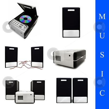 Music set stock photo, Set of different music system images over white background by Sergej Razvodovskij