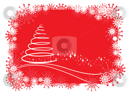 Christmas background stock vector clipart, Vector christmas illustration with tree by Claudiu Badea