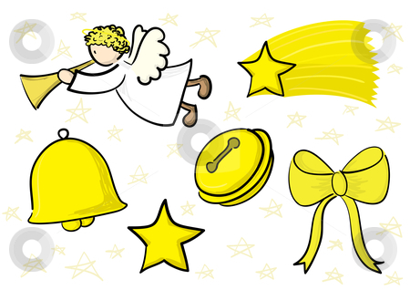 Christmas Icons Set stock vector clipart, Golden decorations set: angel, falling star, bell, jingle bell, star, bow by Claudiu Badea