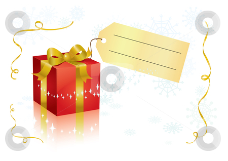 Present and tag stock vector clipart, Vector present box with tag for your text. by Claudiu Badea