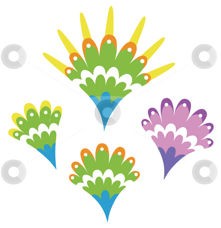 Flower pattern stock photo, Illustration drawing of four beautiful colourful flowers by Su Li