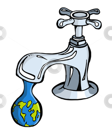 Water: limited resource2 stock vector clipart, Leaking faucet the earth planet shaped drop by Cienpies Design