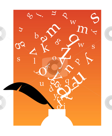 Inkwell with letters stock vector clipart, White inkwell with black feather and white letters floating above on orange background and white frame. Vector available. by Cienpies Design