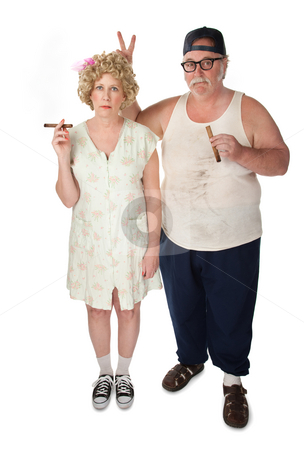 Just a joke stock photo, Homely couple on white background by Scott Griessel