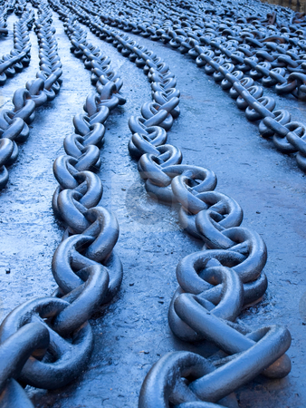 Blue chains stock photo, Naturally blue toned ships chains on the dock. by Sinisa Botas