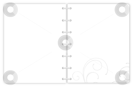 Notebook with gray flower pattern stock photo, Illustration drawing of open  notebook with gray pattern by Su Li