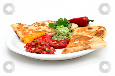 Quesadilla stock photo, Cheddar cheese quesadilla's with guacamole fresh salsa and sliced red chili pepper topped with guacamole and cilantro by Lynn Bendickson