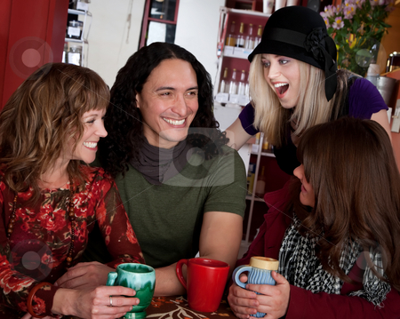 Friends together stock photo, Couple with female friends at a bistro by Scott Griessel