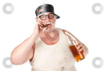 Smoking and drinking stock photo, Fat man with smoking a cigar and holding a 40 oz beer by Scott Griessel