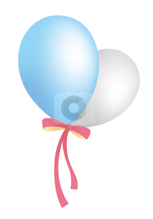 Balloon stock photo, Illustration drawing of bule and gray balloons with red ribbon by Su Li