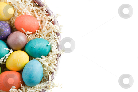 Easter eggs stock photo, A shot of colorful easter eggs in a basket by Suprijono Suharjoto