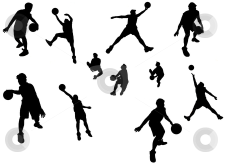 Basketball player stock photo, A silhouette isolated shot of a basketball player in action by Suprijono Suharjoto