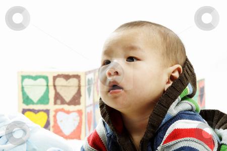 Cute baby stock photo, A portrait of a cute baby boy by Suprijono Suharjoto