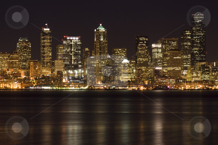 Downtown buildings stock photo, A shot of Seattle downtown buildings at night by Suprijono Suharjoto